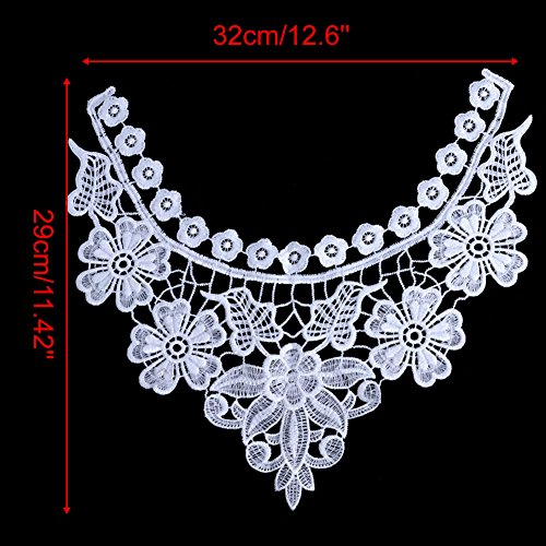 1PC White Flower Embroidered Floral Lace Neckline Patch Collar Venise Applique Motif