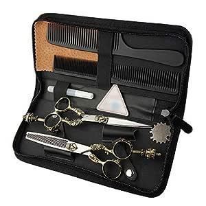 GUOCAO 6 Inch Hairdresser Professional Haircut Flat Scissor + Tooth Scissor Retro Handle Scissors Set Scissors (Color : Silver) Hair Cutting
