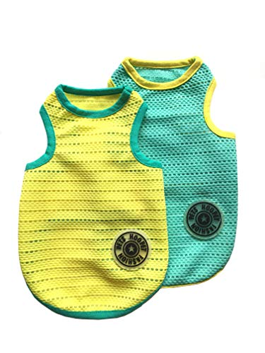 HooPet Pet Dogs Breathable Mesh Tank Top, Dog Sleeveless Summer T Shirt Vest for Small to Medium Dogs Cats 2Pcs-(Blue & Yellow,M)