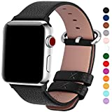 Electronics : Fullmosa 15 Colors for Apple Watch Bands 42mm and 38mm, Yan Calf Leather Watch Replacement Band/Strap/Bracelet for iWatch Series 3, Series 2, Series 1,38mm Black