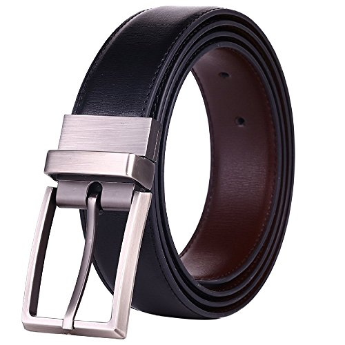 Mechaly Classic Men Dress Reversible Bicast Leather Buckle Belt with Wide Rotation - Black and Brown (X-Large)