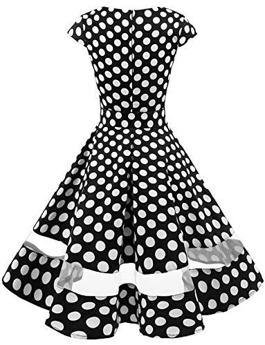 Da White Dot Maniche Cocktail Polka 1950 Corte Retrò Audery Gardenwed Swing Abito Vestito Con Partito Annata Black Rockabilly nxaTRpwOYq