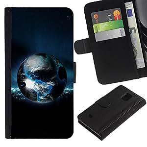Billetera de Cuero Caso Titular de la tarjeta Carcasa Funda para Samsung Galaxy S5 Mini, SM-G800, NOT S5 REGULAR! / Planet Earth / STRONG