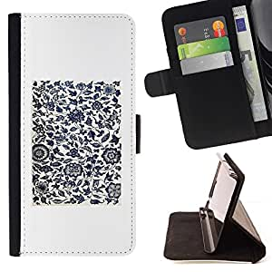 For Samsung Galaxy Core Prime / SM-G360 Case , Blanco Negro minimalistas Birds Flowers- la tarjeta de Crédito Slots PU Funda de cuero Monedero caso cubierta de piel
