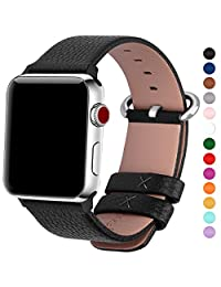 15 Colors for Apple Watch Bands 42mm and 38mm, Fullmosa Yan Calf Leather Smart Watch Replacement Band/Strap/Bracelet with Secure for iWatch Series 3, Series 2, Series 1, Sport and Edition Versions 2015 2016 2017, 42mm Black