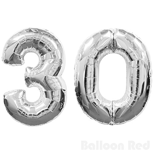40 Inch Giant Jumbo Helium Foil Mylar Balloons (Premium Quality), Glossy Silver, Number 30