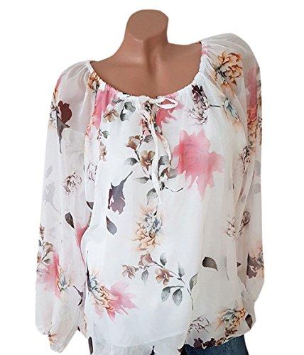 Simple-Fashion Primavera e Autunno Donne Tops Casual Sciolto Stampa Camicie Maglietta Shirts Cime Moda Scollo a Barca Maglie a Manica Lunga T-Shirt Bluse Bianca