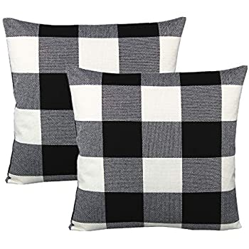 VAKADO 20x20 inch Black White Buffalo Plaids Decorative Throw Pillow Covers Retro Rustic Check Cotton Linen Cushion Cases Home Decor for Couch Sofa Car Set of 2