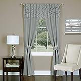 "Achim Home Furnishings Trellis 5-Piece Window Curtain Panel Set, 55 by 63"", Silver"