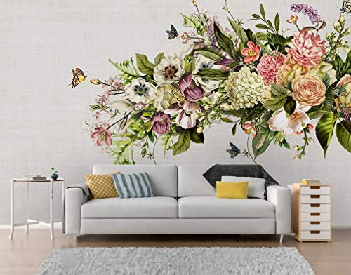 Murwall Vintage Floral Wallpaper Colorful Hydrangea Wall Mural Pastel Flower Wall Print Bohemian Home Decor Cafe Design