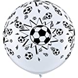 Qualatex Black & White Football/Soccer Balls Giant 3ft Latex Balloons x 2
