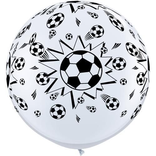 Qualatex Black & White Football/Soccer Balls Giant 3ft Latex Balloons x 2 by Sports & National Themed Balloons