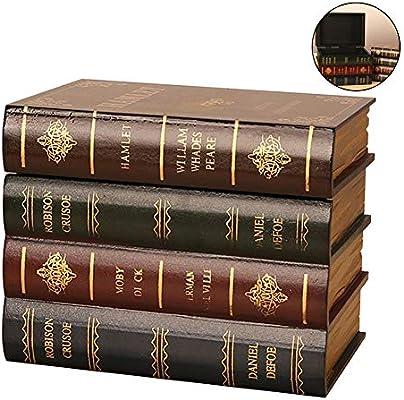 Loveinwinter Caja Libro Almacenamiento en el hogar Retro Caja de ...