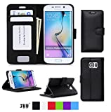 Fyy Galaxy S6 Edge Case, Samsung Galaxy S6 Edge Case, [Executive Wallet Kickstand] Premium PU Leather Flip Case Stand Cover with Card Slots and Note Holder for Samsung Galaxy S6 Edge Black