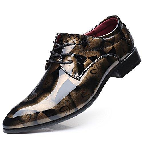LHLWDGG.K Zapatos De Negocios De Gran Tamaño De Impresión De Los Hombres Zapatos Planos Ocasionales Del Cordón De Los Hombres, Amarillo, 44 44|Yellow