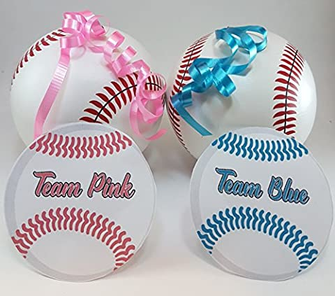 2 Gender Reveal Baseballs + BONUS: 20 Stickers   Team Pink (Girl) and Team Blue (Boy)   Perfect for Baseball Theme Party Or Baby Shower   Most Realistic   Most (Exploding Smoke Bombs)