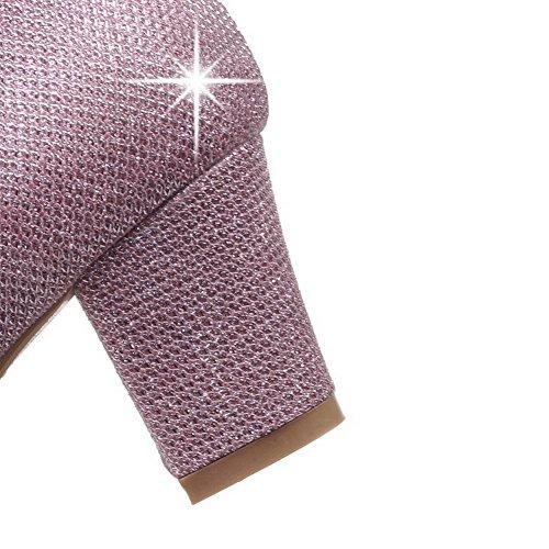 AllhqFashion Mujer Material Suave Sin cordones Puntera Redonda Puntera Cerrada Tacón Medio Sólido De salón Rosa