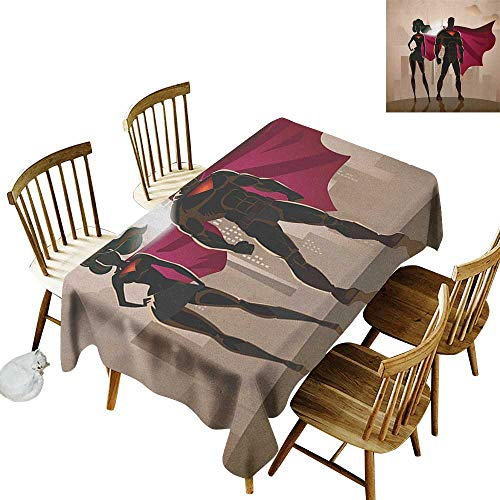 kangkaishi Iron-Free Anti-fouling Holiday Long Tablecloth Table decorationSuper Woman and Man Heroes in City Solving Crime Hot Couple in Costume W14 x L72 Inch Beige Brown Magenta]()
