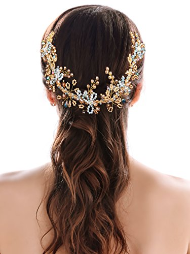 Yean Wedding Headband Hair Vine Boho Crystal Flower Blue Champagne Bridal Hair Accessories for Brides and Bridesmaids - 15.74''