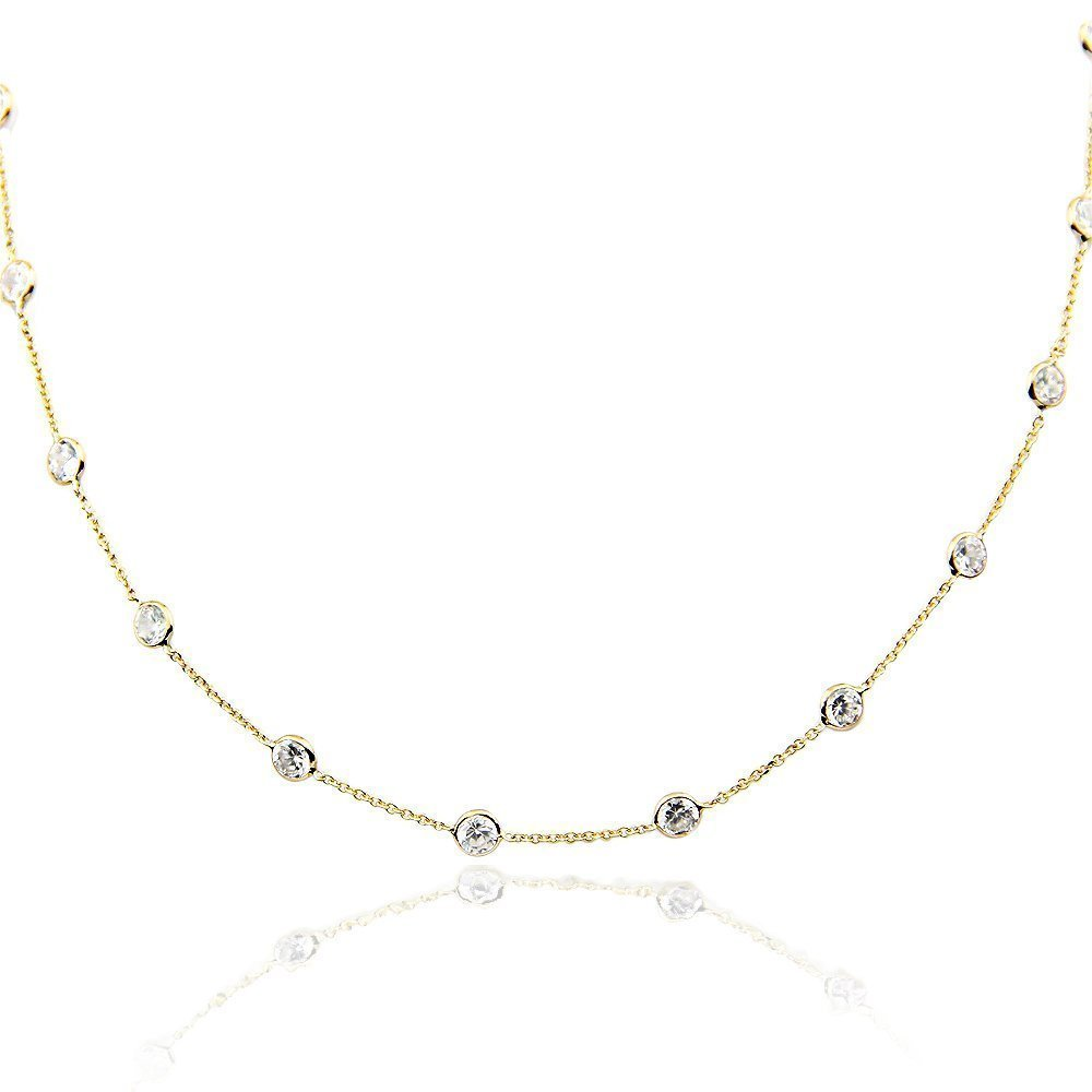 14K Yellow Gold Handmade Station Necklace With 4 MM Cubic Zirconia (16, 17, 18, 20 and 24 Inches) by amazinite
