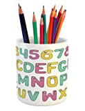 Lunarable ABC Kids Pencil Pen Holder, Numbers and Letters Kindergarten Years Comic Toddler Writing Print, Printed Ceramic Pencil Pen Holder for Desk Office Accessory, Sea Green Yellow Pink