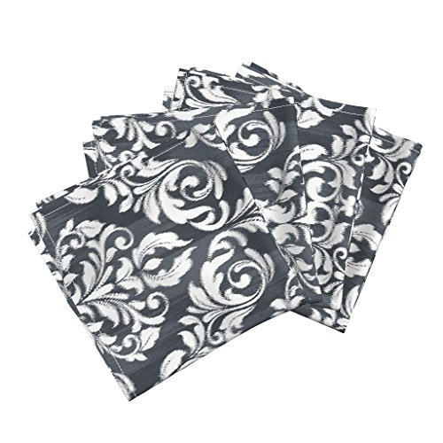 Roostery Damask Organic Sateen Dinner Napkins Ikat Damask - Charcoal by Stitchstapleglue Set of 4 Cotton Dinner Napkins Made