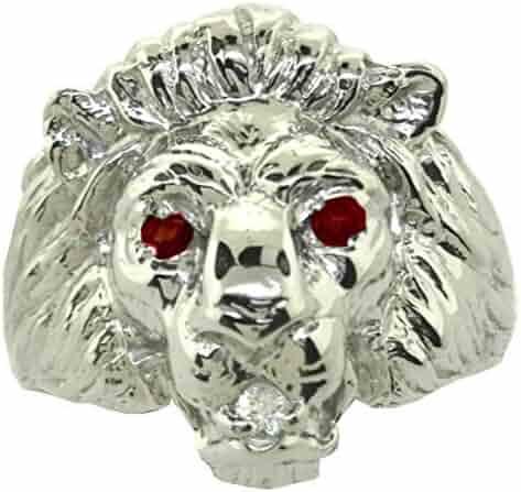 Ruby & Diamond Lion Head Ring 14K White Gold Band