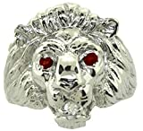 Ruby & Diamond Lion Head Ring 14K White Gold Band