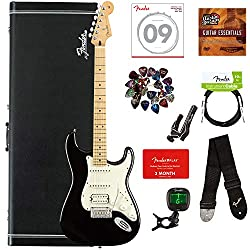 Fender Player Stratocaster HSS, Maple - Black Bundle with Hard Case, Cable, Tuner, Strap, Strings, Picks, Capo, Fender Play Online Lessons, and Austin Bazaar Instructional DVD