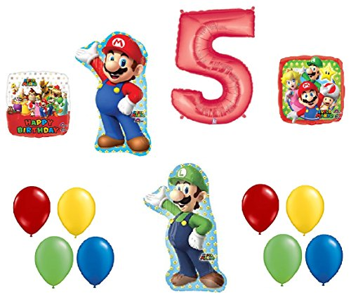 #5 5th Birthday Super Mario Brothers Mega 13 Piece Foil Mylar and Latex Balloons Party Decoration Set -