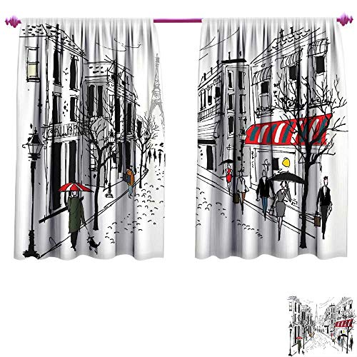 WinfreyDecor Paris Room Darkening Wide Curtains Old French Pedestrians Stores Trees and The Silhouette of Eifffel Urban Illustration Decor Curtains by W72 x L72 Multicolor