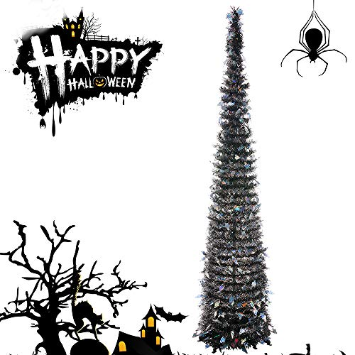 Joy&Leo 5 Foot Pop Up Ghost Sequin Black Tinsel Halloween Tree, Easy to Assemble, for Small Spaces & Apartment & Fireplace & Party & Home & Office & Store & Classroom & Halloween Decorations