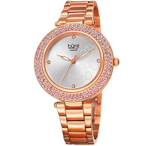 Burgi Women's BUR179 Quartz Diamond & Swarovski Crystal Accented Flower Design Gold-Tone Bracelet Watch (Rose Gold)