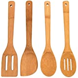 CrazyGadget 4pcs 4 Pieces Pure Bamboo Wooden Solid Turner, Spatula, Slotten Spoon & Spoon Kitchen Essentials Cooking Utensils Tool Set
