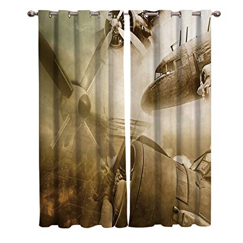 - FunDecorArt Blackout Curtains, Aircraft Battlefield Aerial Warfare Polyester Shade Curtains, 2 Panel Drapes/Window Treatment for Bedroom/Living Room/Office/Teen Room, 104 W x 72 L inches