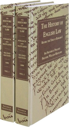 The History of English Law Before the Time of Edward I. Second Edition. 2 Volumes: The History of English Law Before the Time of Edward I (2 vols.)