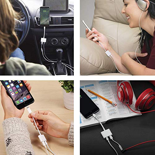 Headphones Jack Adapter for iPhone Adapter Charger and Headphones for iPhone Earphone Dongle Compatible with iPhone 7/8/X/XR/11/SE Audio & Charger & Call & Remote Control Support All iOS System