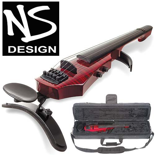 NS Design WAV-5 Electric 5-String Transparent Red Violin with Hard Case by NS Design