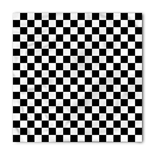 Ambesonne Unisex Bandana, Checkers Game Classic Game Board, White Black
