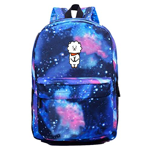 Boys Bts Kpop Backpack Rj Starry Sports Bags Unisex Schoolbag Satchel Bangtan bt21 Blue Canvas Cartoon Sky 0C1waq