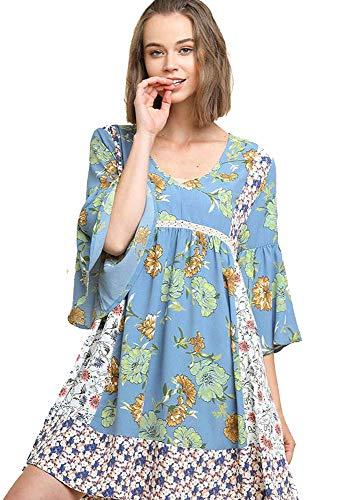 - Umgee Doll-Baby Babydoll! Boho Mixed Pattern Dress (Lt Blue, Small)
