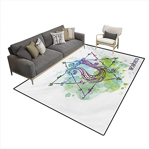 Carpet,Eastern Occult Sign Distressed Trippy Blowing Healing Soul Mystic Energy Zen,Customize Rug (Union Distressed Belt)