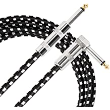 Donner Guitar Cable 10 ft, Premium Electric Instrument Bass Cable AMP Cord 1/4 Right Angle to Straight Black White