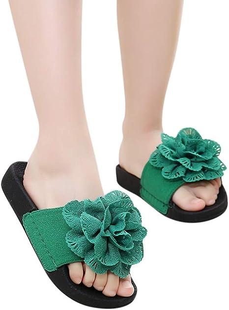 Anxinke Kids Girls Summer Open Toe Flower Slide Sandals