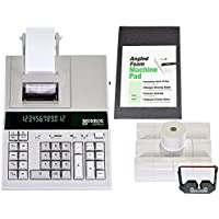 Monroe 2020PlusX 12-Digit Medium-Duty Color Printing Calculator With Optional Supplies and Foam Elevation Wedge (Calculator with Ribbons, Paper and Foam Wedge, Ivory)