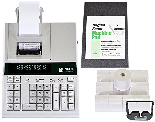 Monroe 2020PlusX 12-Digit Medium-Duty Color Printing Calculator With Optional Supplies and Foam Elevation Wedge (Calculator with Ribbons, Paper and Foam Wedge, Ivory) by Monroe Systems for Business