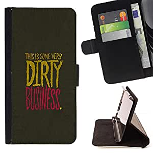 DEVIL CASE - FOR LG G2 D800 - Dirty Businesse Quote Slogan Sign Life Business - Style PU Leather Case Wallet Flip Stand Flap Closure Cover