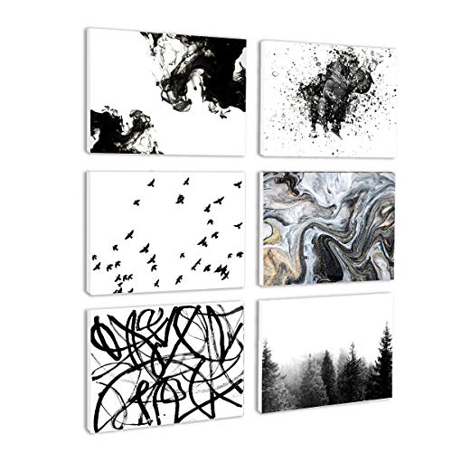 BIL-YOPIN Canvas Wall Art Abstract Painting Prints Wall Artworks Pictures 6 Panels Canvas Print Wall Décor