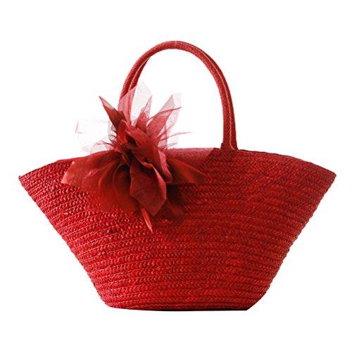 Zhuhaitf Ventas calientes High Quality Womens Korean Pastoral Style Woven Garden Silk Flowers Casual Bags Red