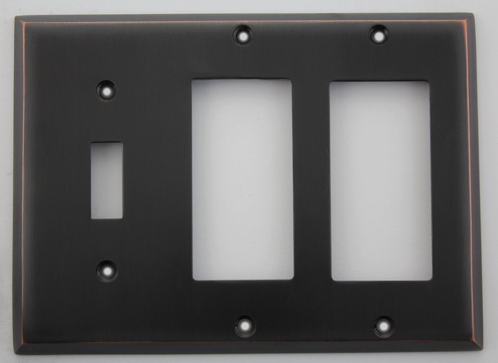 Oil Rubbed Bronze Three Gang Wall Plate - One Toggle Switch Two GFI Openings